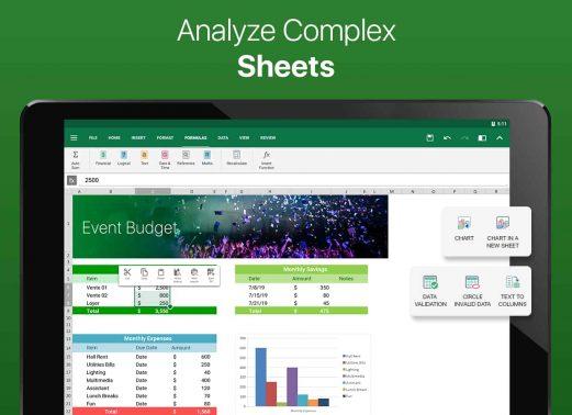 OfficeSuite Pro + PDF apk for analyze sheet